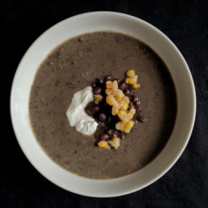 Black Bean Soup with Corn Crackle