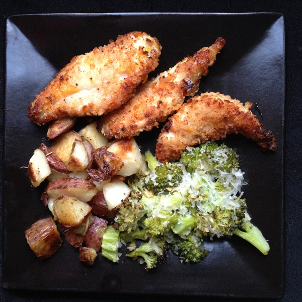 Chicken Tenders with Roasted Potatoes and Broccoli