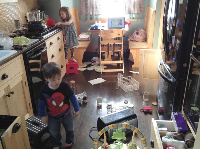 Kids in the kitchen while making a five-piece chicken dinner.