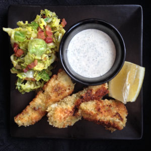 Halibut Fish Sticks and Brussel Sprout Slaw