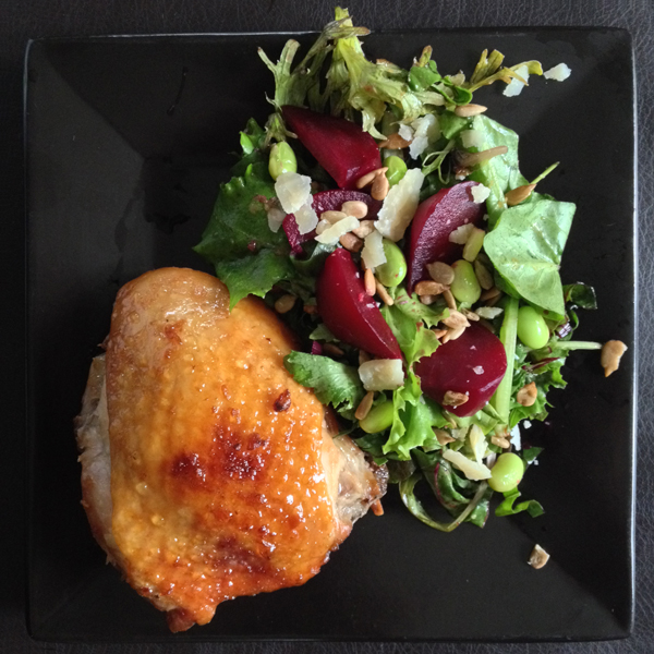 Honey-GingerChicken with Beet-Edamame Salad