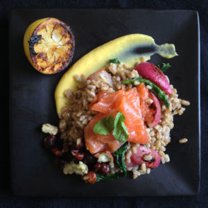 Gravlax and Farro with Radishes and Charred Lemon