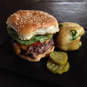 University Burgers with New Potatoes