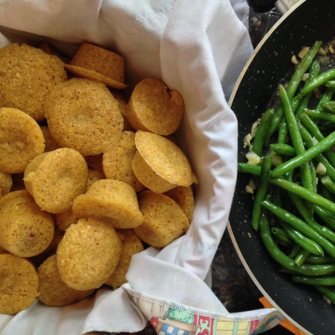 Mini Corn Dog Muffins with Garlic Green Beans