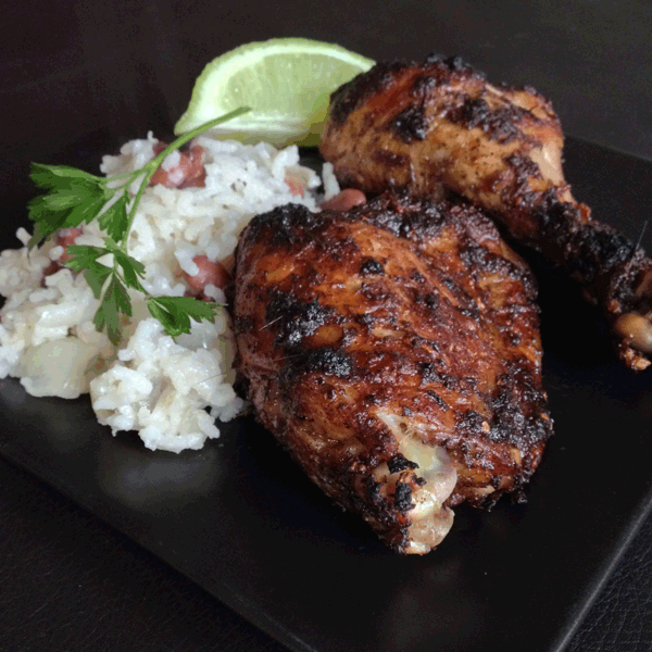 Jerk Chicken with Peas and Rice