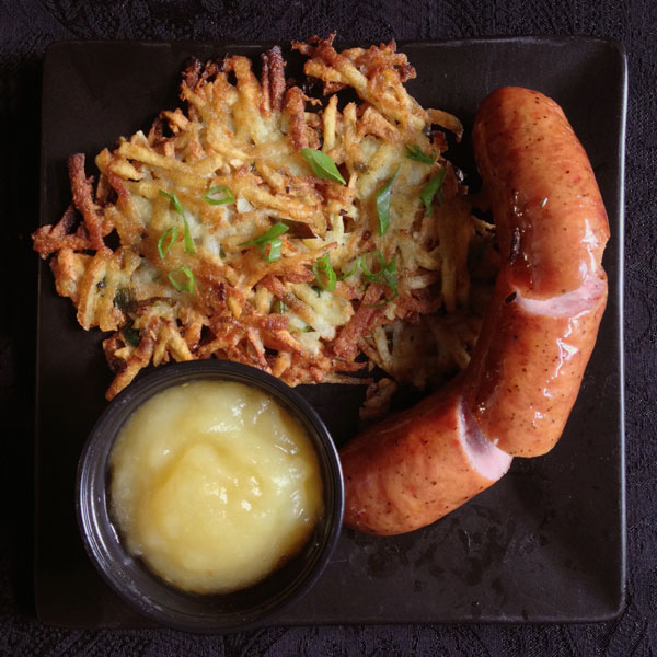 Kielbasa with Potato Pancakes and Applesauce