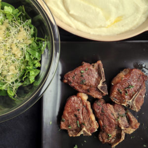 Lamb Steaks with Cauliflower Purée and Champagne Greens