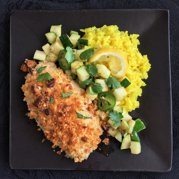 Macadamia-Crusted Chicken with Lemon Rice