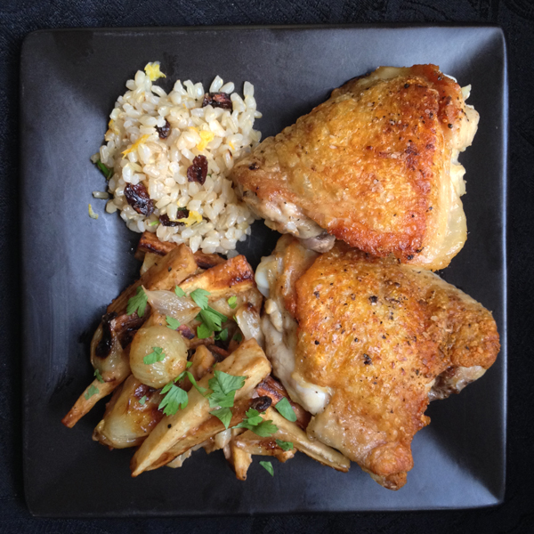 Pan-Roasted Chicken Thighs with Parsnips