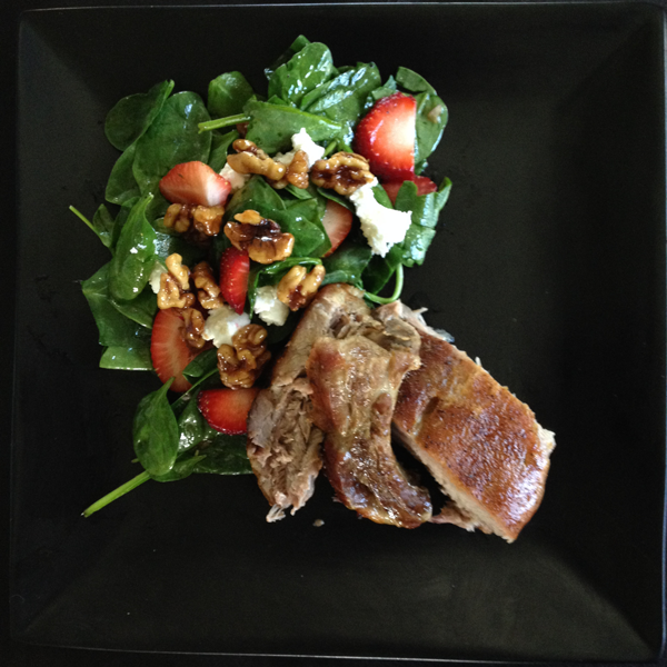 Ribs with Strawberry-Spinach Salad