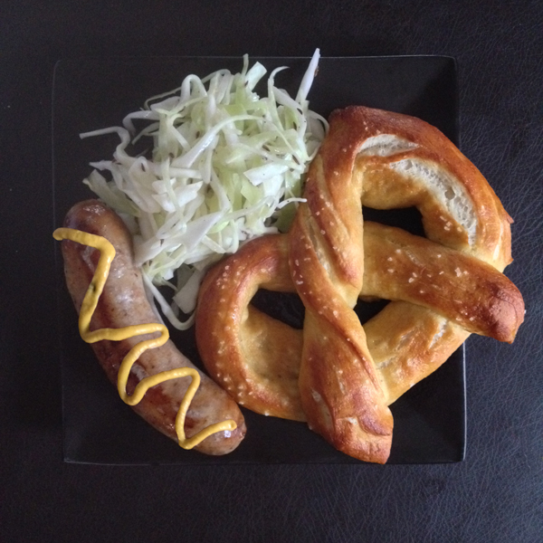 Pretzels with Brats and Cabbage Salw