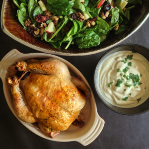 Roast Chicken with Celery Root Purée and Spinach