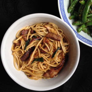 Roast Pork Lo Mein with Green Beans in Garlic-Black Bean Sauce