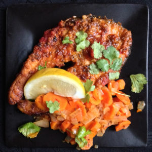 Fish Steaks in Chraimeh Sauce with Spicy Carrot Salad