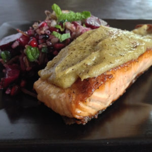Wasabi-coated Salmon with Beet-Pomegranate Wild Rice
