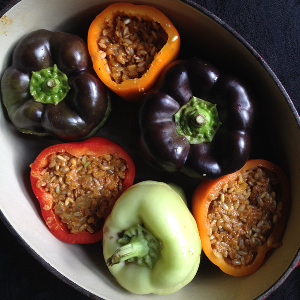 Stuffed Peppers with Walnuts and Brown Rice