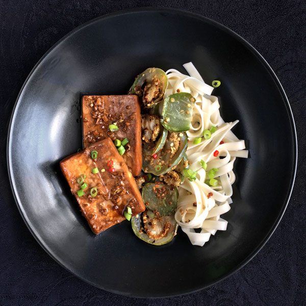 Sweet Ginger Tofu with Eggplant and Noodles